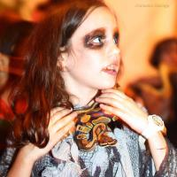 Girl has snakes for Halloween